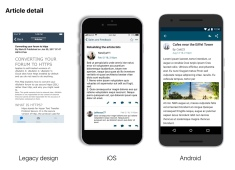 Article Detail View- Original legacy view next to iOS and Android updates