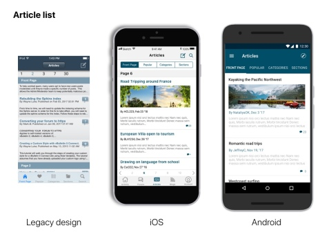 Article Main View- Original legacy view next to iOS and Android updates