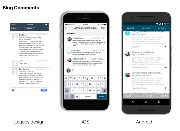 Forum Comments View- Original legacy view next to iOS and Android updates
