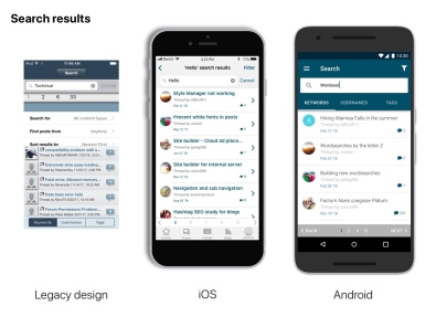 Search Results View- Original legacy view next to iOS and Android updates