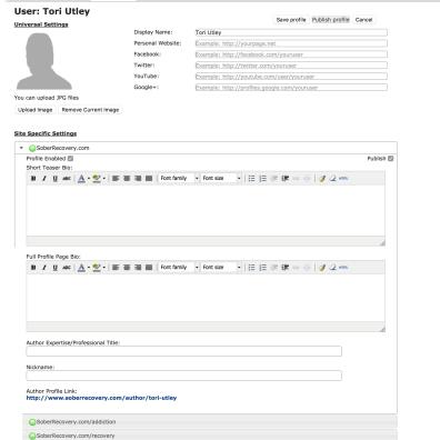 Writer Profile Module in v2