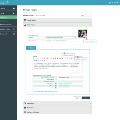 A high fidelity prototype of the redesigned People Manager module